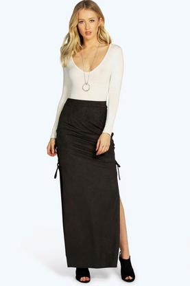 Alandria Lace Up Side Suedette Maxi Skirt