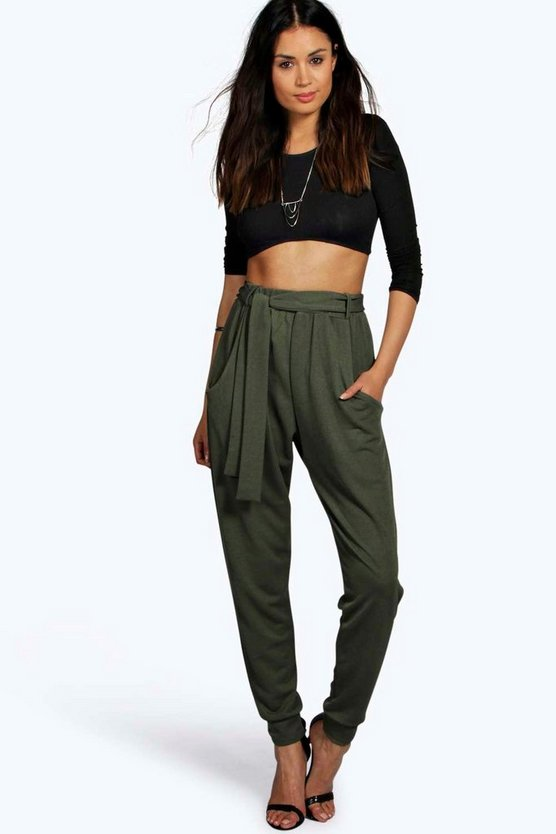 Luella Soft Crepe Tie Waist Relaxed Jogger