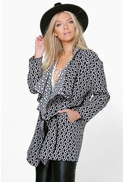 Boutique Ivy Jacquard Waterfall PU Belted Coat