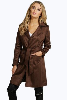Boutique Julia Suedette Belted Duster
