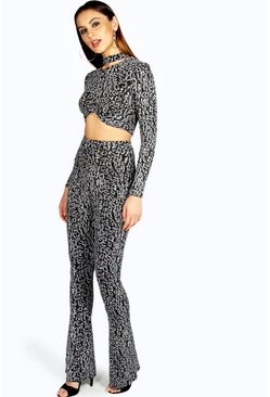 Polly Animal Print Sparkle Trouser