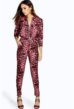 Narla Animal Print Zipper Trouser