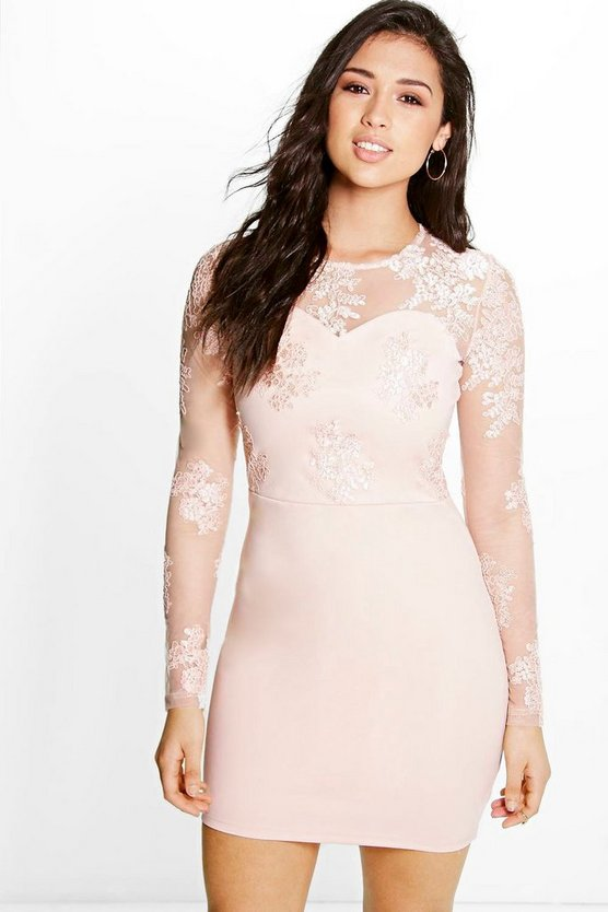 Boutique Mel Corded Lace Long Sleeve Bodycon Dress