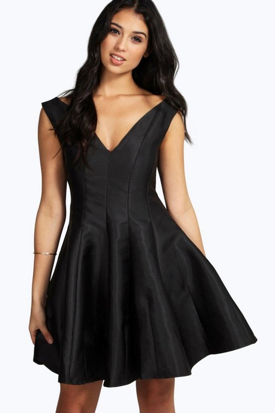 Boutique Claire Sateen Fit & Flare Dress
