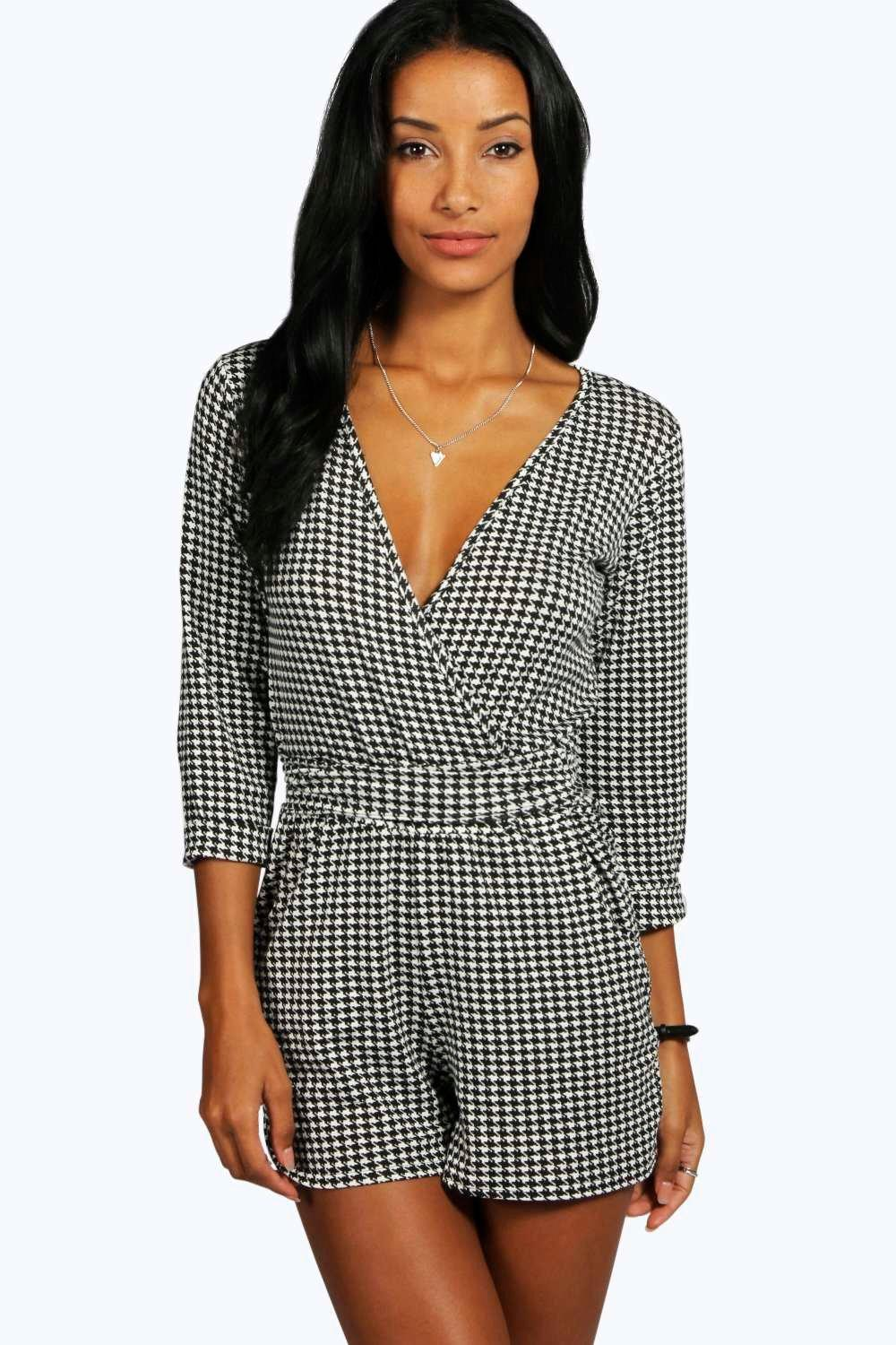 Tina Dogtooth Relaxed Tie Belt Playsuit