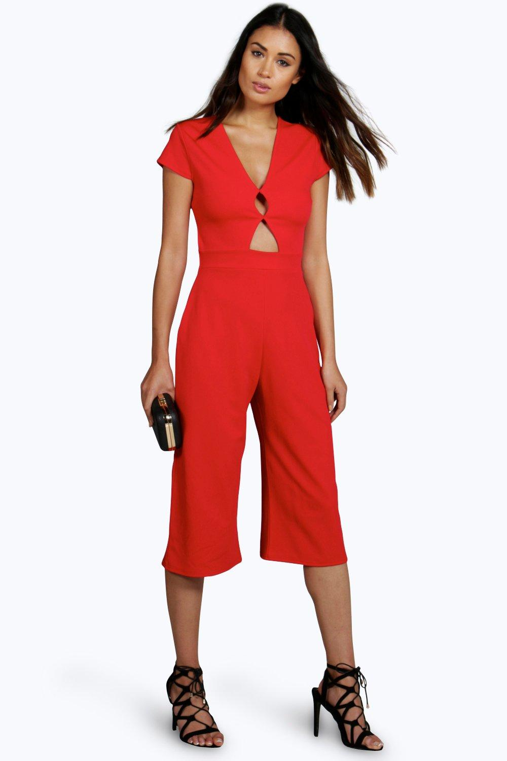 boohoo Lissa Cut Out Culotte One Piece - red $10.00 AT vintagedancer.com