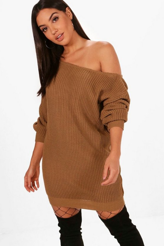 Slash Neck Fisherman Jumper Dress