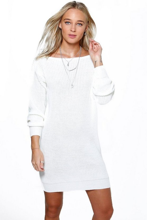 Cara Slash Neck Fisherman Jumper Dress