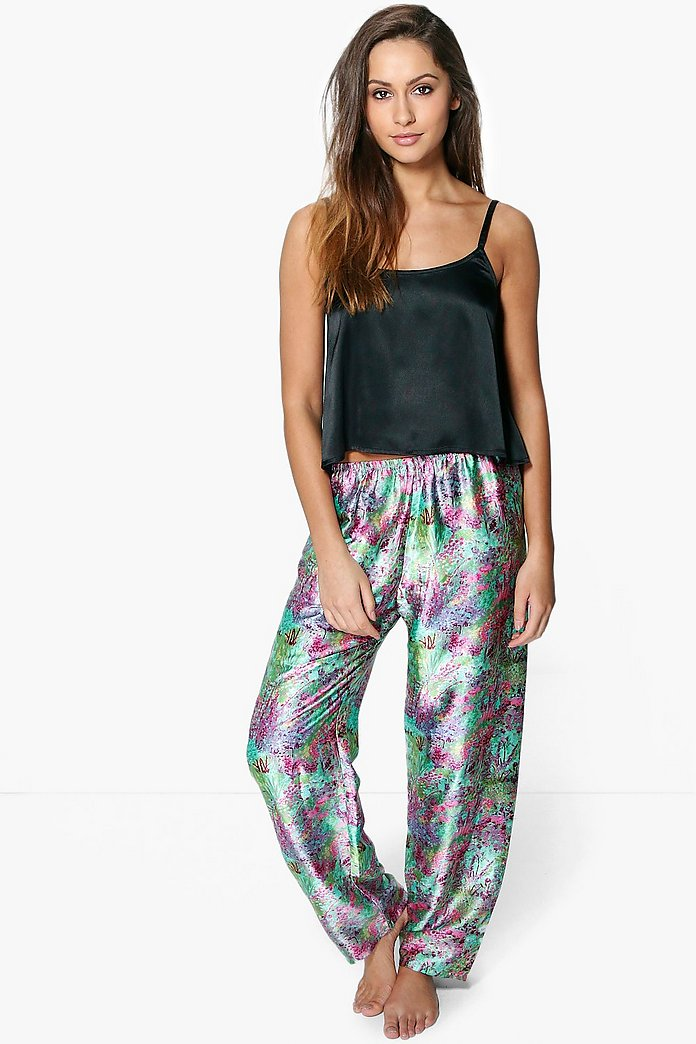 Eva Satin Floral Trouser And Cami Night Set