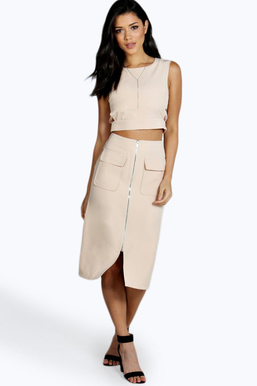 Product photo of Ella zip up pocket aline woven midi skirt nude