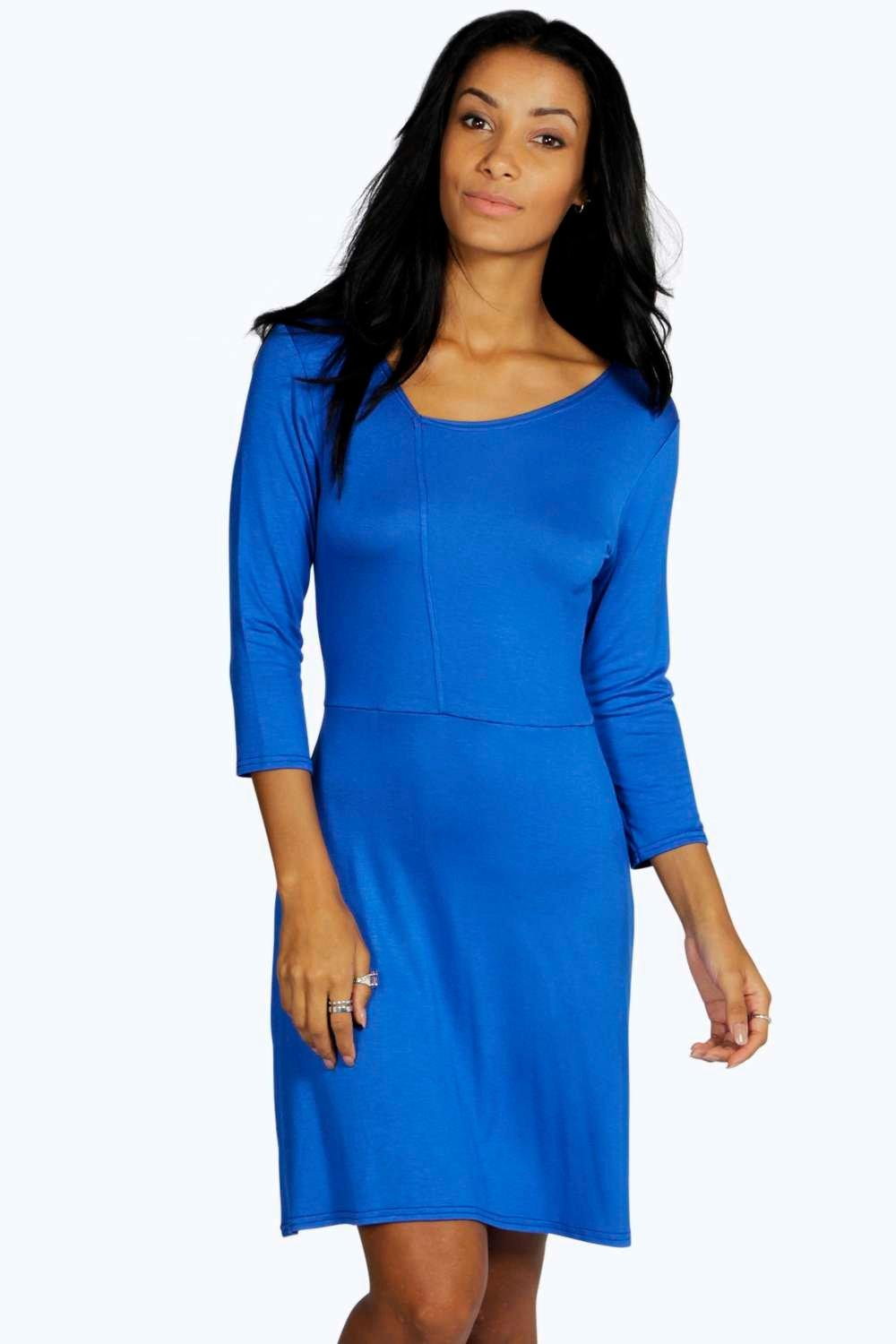 Amy Asymmetric Neckline Skater Dress