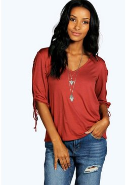 Esme Lace Up Sleeve V Neck Top