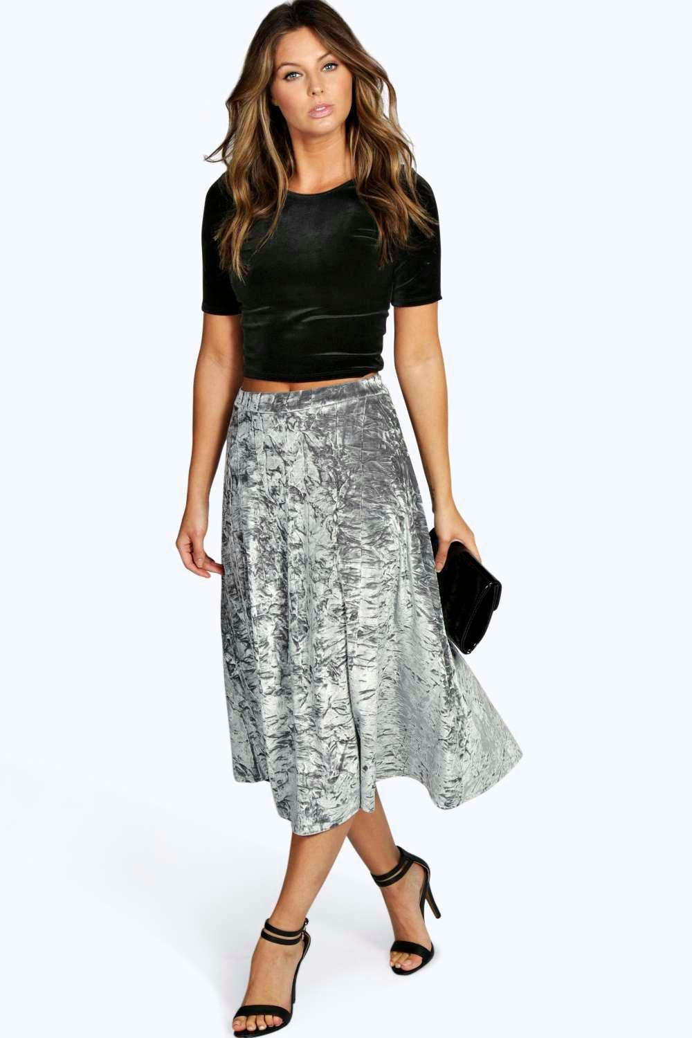 Livia Crushed Velvet Full Skater Skirt