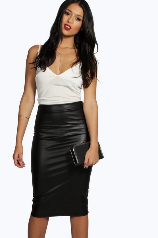 Serena Leather Look Midi Skirt