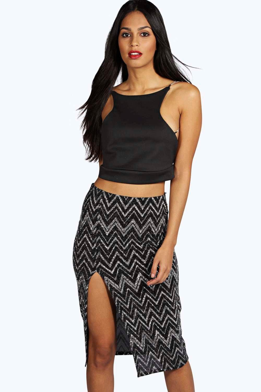 Rozellia Metallic Zig Zag Side Split Midi Skirt