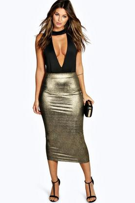 Darci Metallic Knit Longline Skirt