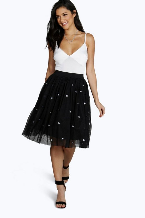 Boutique Suri Jewelled Full Midi Skirt
