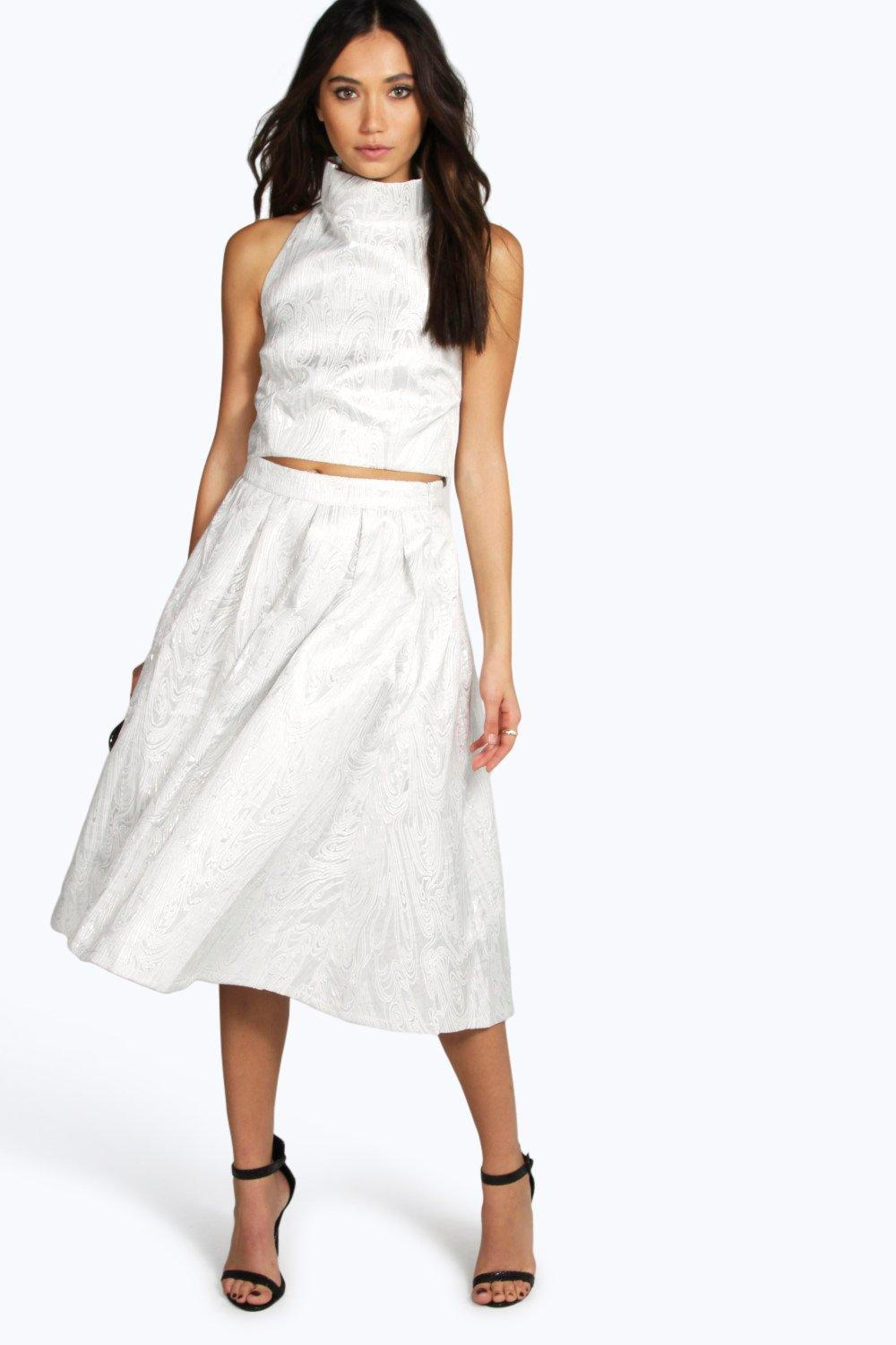 Box Pleat Jacquard Full Midi Skirt white
