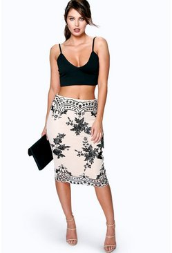 Boutique Aurera Sequin Embellished Midi Skirt