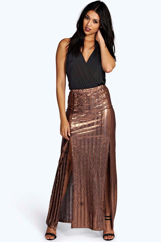 Metallic Textured Split Front Maxi Skirt - bronze