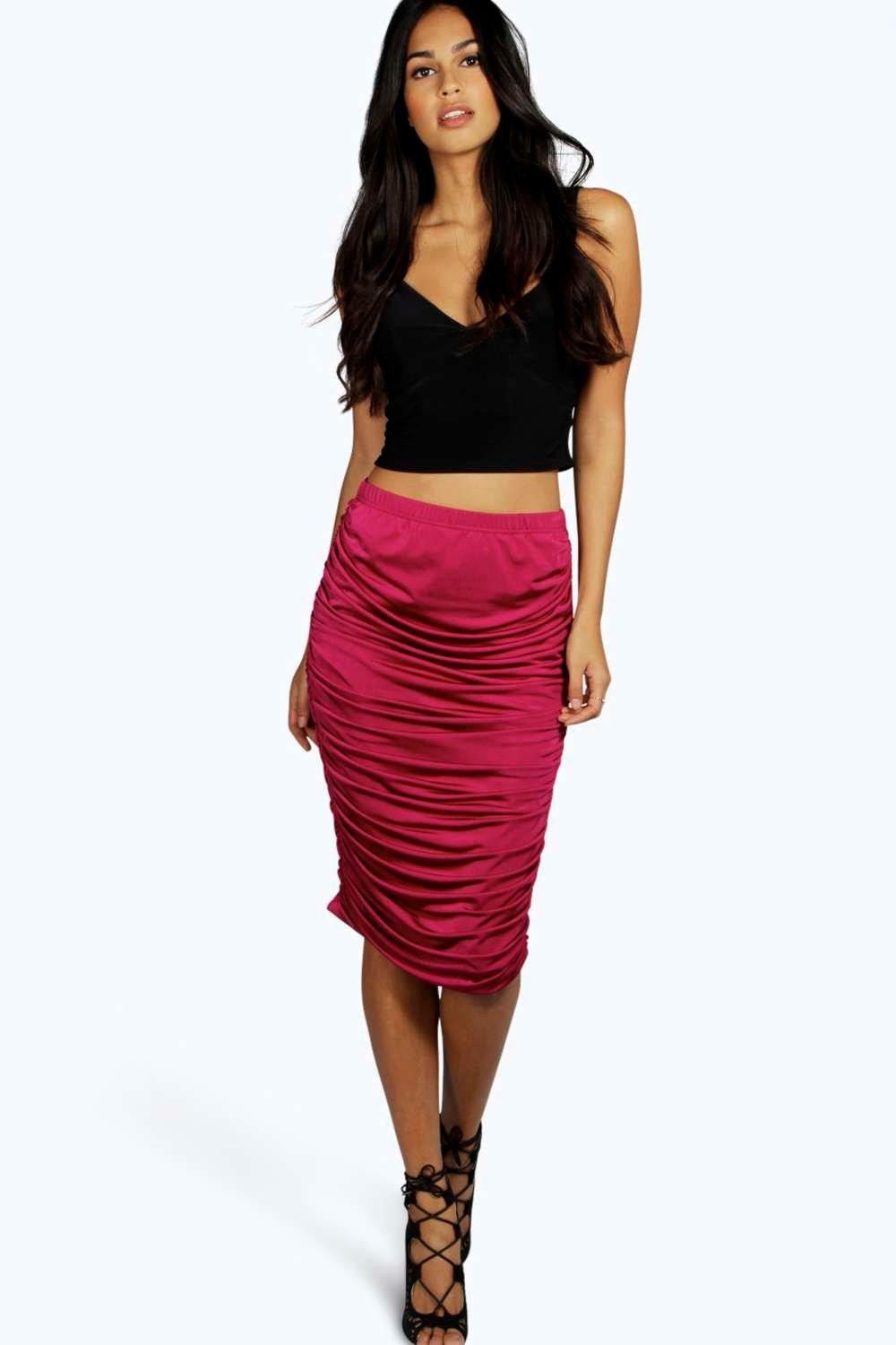 Rosa Rouched Side Slinky Midi Skirt