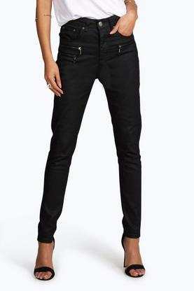 Hallie Coated Zip Detail Skinny Trousers