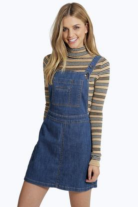 Jayne A Line Denim Pinafore Dress