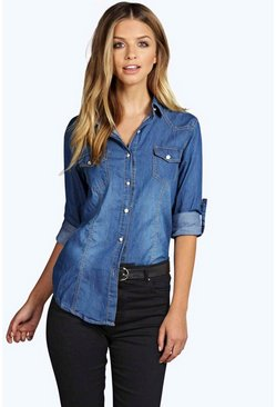 Laura Slim Fit Light Wash Denim Shirt