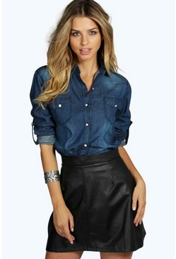 Lisa Slim Fit Dark Wash Denim Shirt