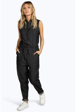 Hollie Sleeveless Button Thru Denim Boilersuit