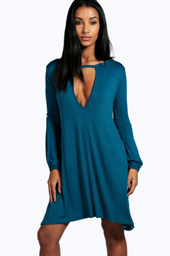 Claire Cut Out Long Sleeve Swing Dress