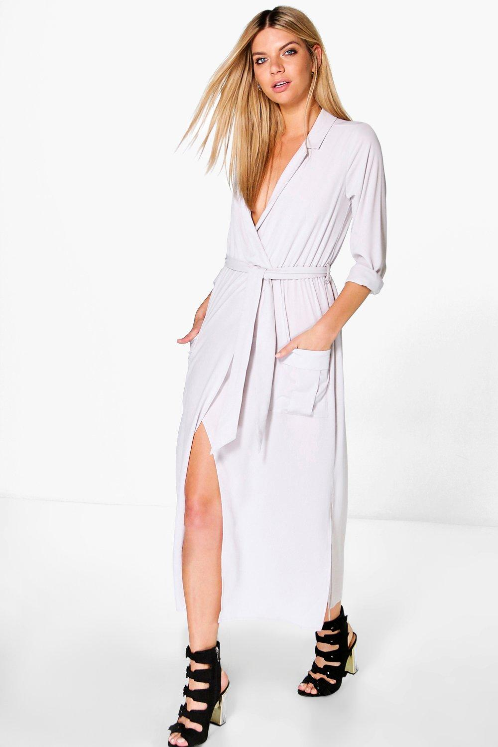 Lorraine Long Sleeve Pocket Front Shirt Dress