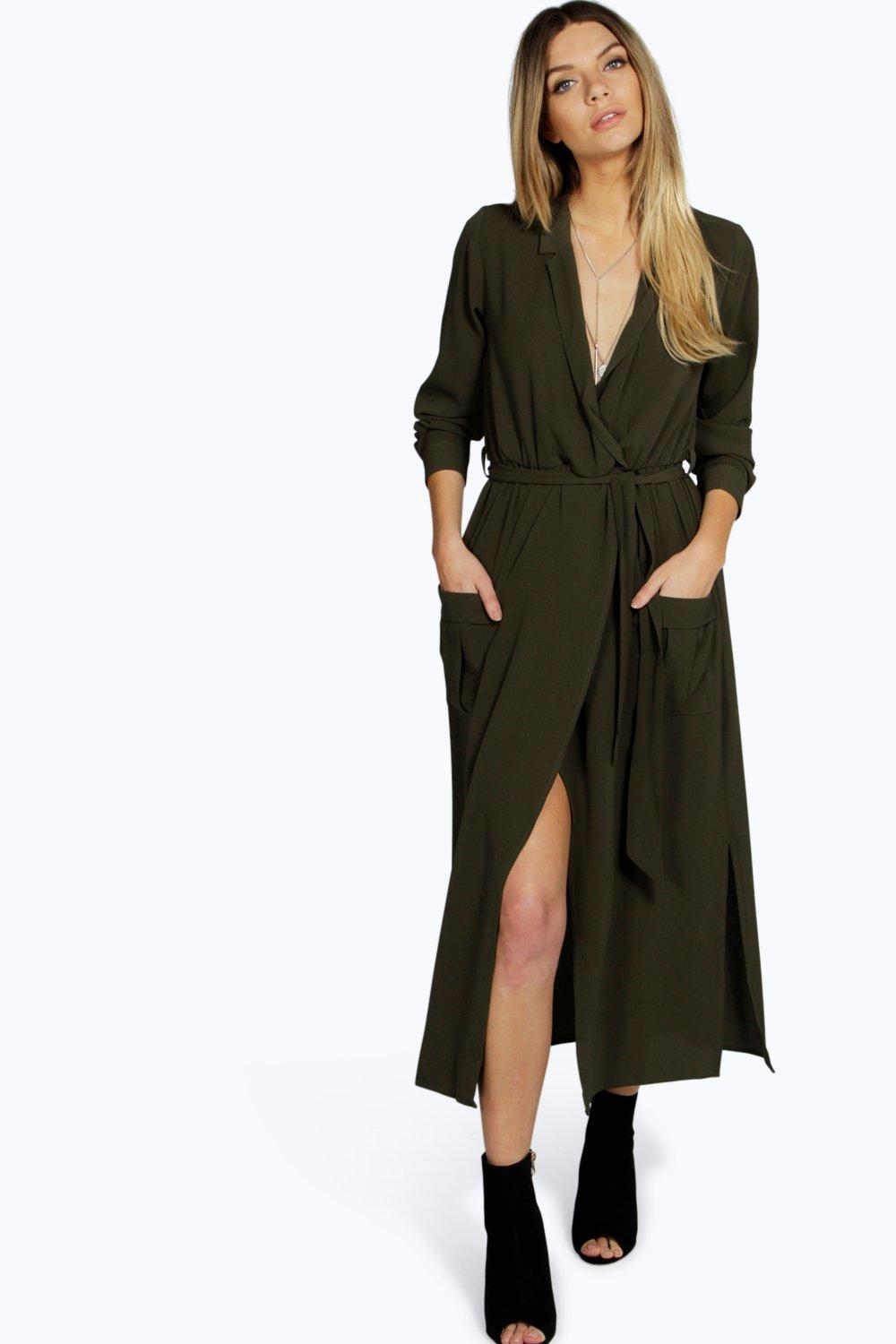 Long Sleeve Pocket Front Shirt Dress  khaki