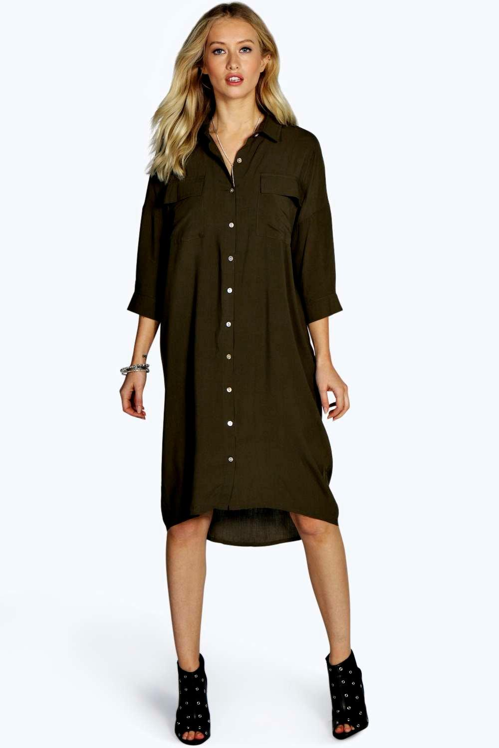 Bea Military Pocket Oversized Shirt Dress