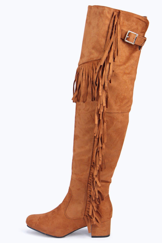 boohoo womens fringe knee boot ebay