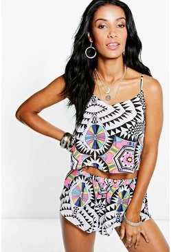Bella Geo Print Chiffon Beach Co-ord