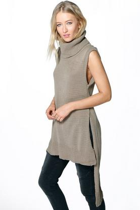 Karly Cowl Neck Sleeveless Step Hem Tunic