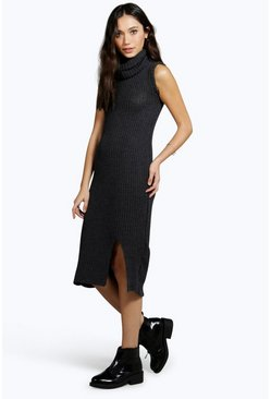 Cathy Roll Neck Hem Split Knitted Dress