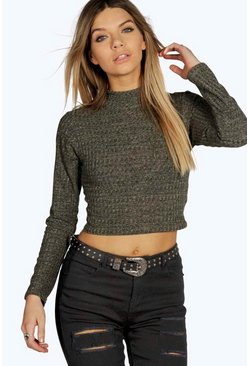 Megan Turtle Neck Rib Knit Crop Jumper