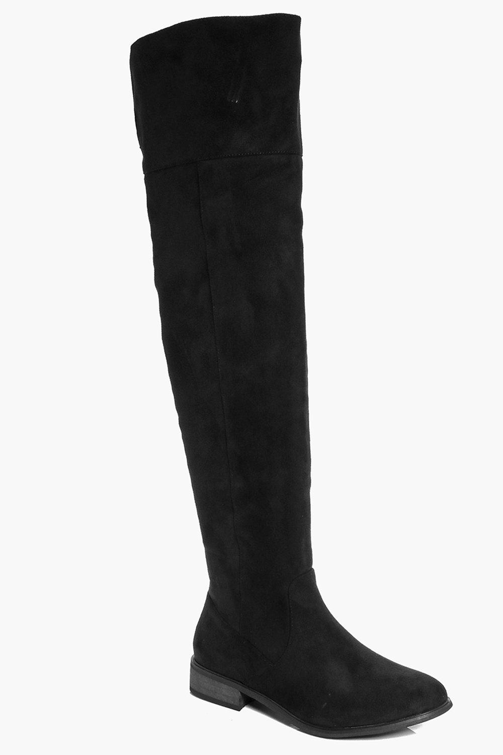 Annabelle Over The Knee Flat Boot | Boohoo