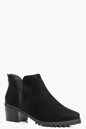 Amy Cleated Pointed Suedette Chelsea Boot