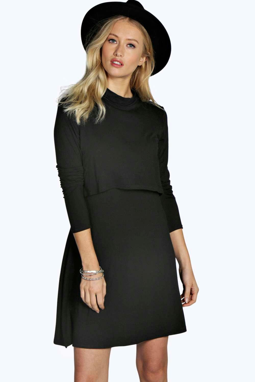 Long Sleeve Double Layer Swing Dress black