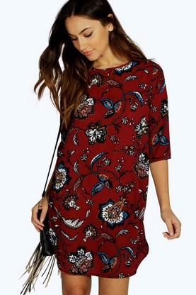 Dilaila Dark Floral 3/4 Sleeve Shift Dress