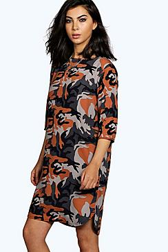 Mira Camo Print 3/4 Sleeve Shift Dress