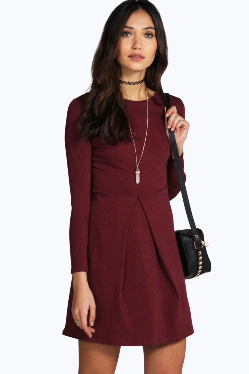 Box Pleat Long Sleeve Skater Dress - wine