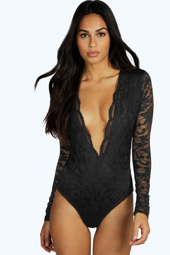 Amy Scallop Lace Plunge Body