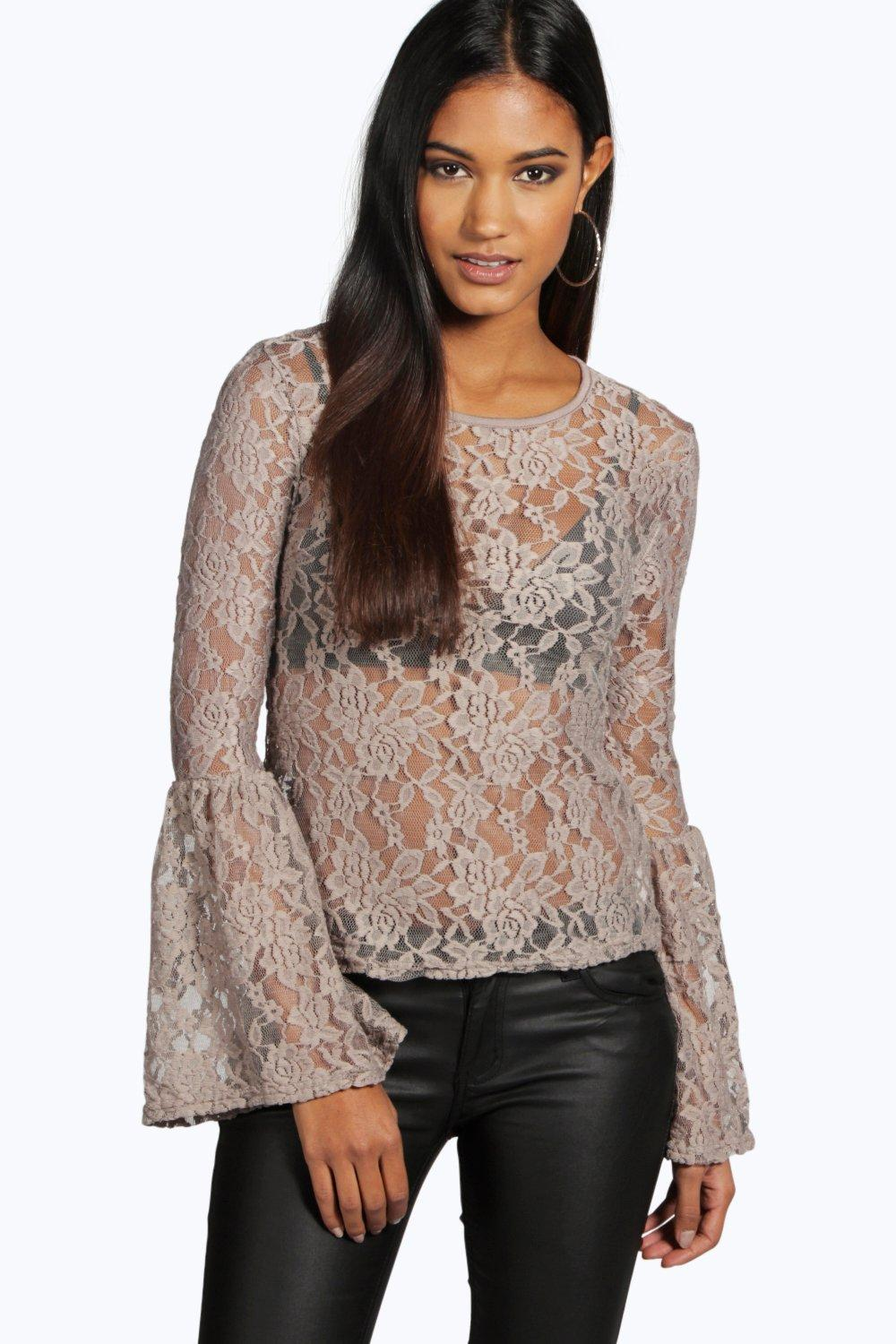 Mary Flute Sleeve Lace Top