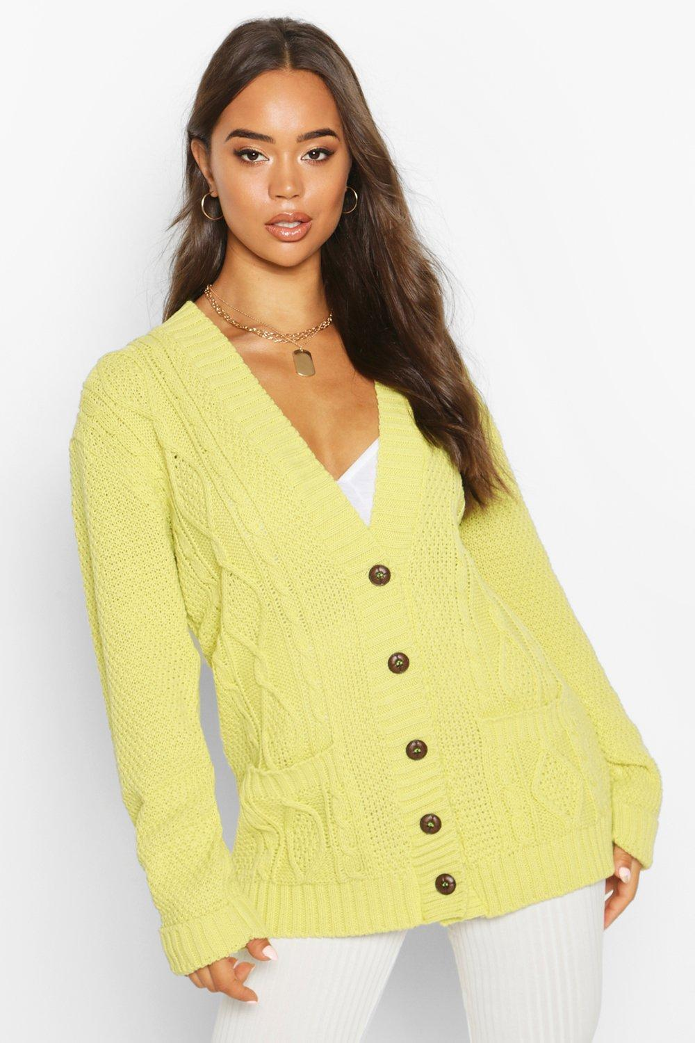 Womens Daisy Boyfriend-Cardigan - washed lime - s/m, Washed Lime - Boohoo.com