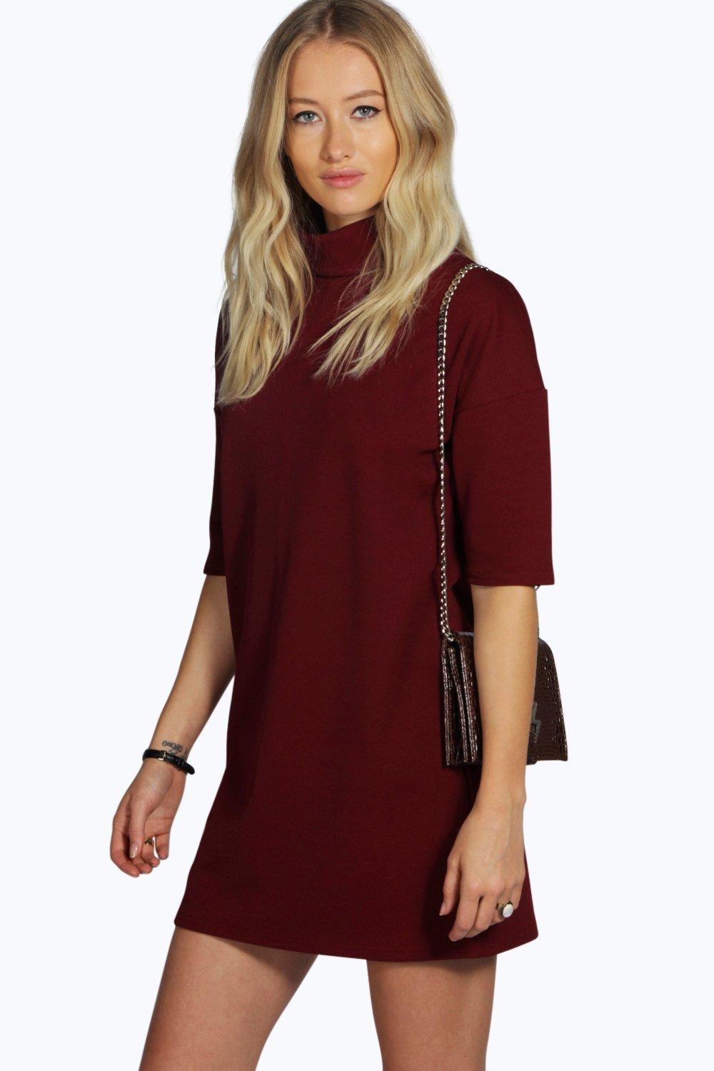 Billie High Neck 3/4 Sleeve Shift Dress