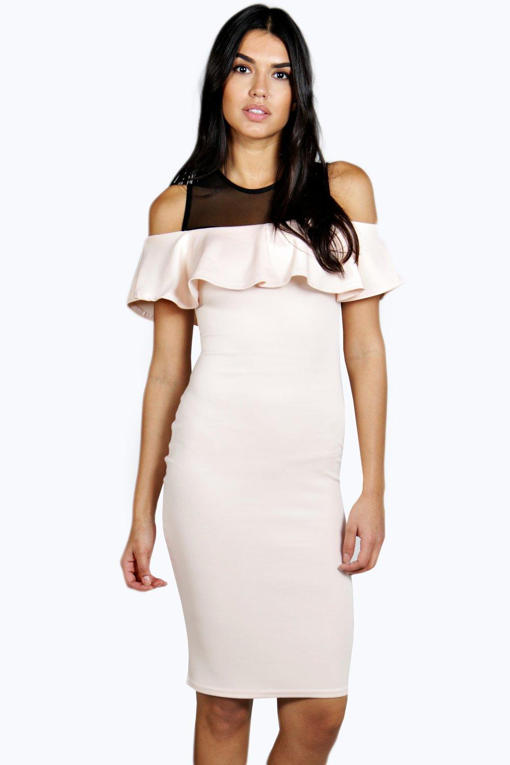 Marisole Frill Detail Mesh Panel Midi Bodycon Dress